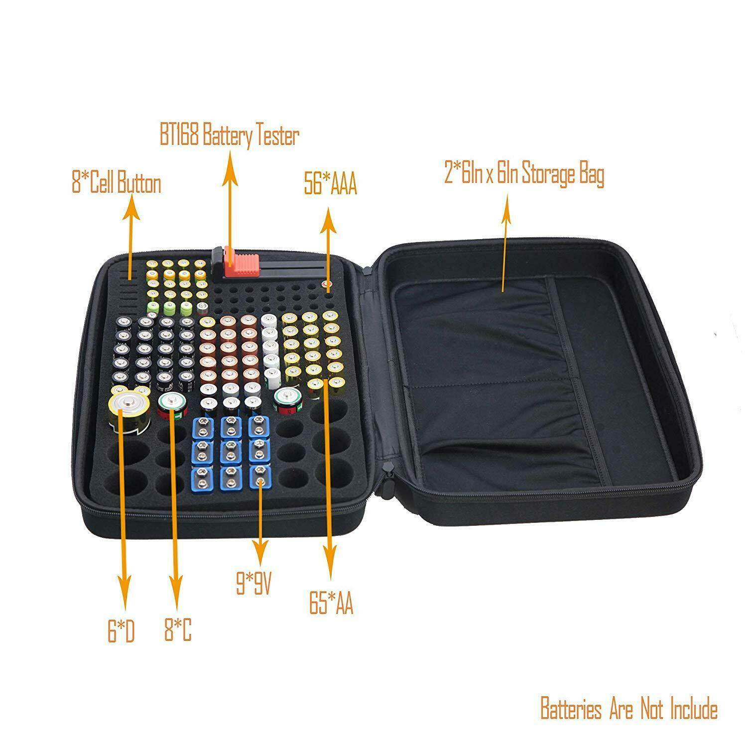 Battery Storage Organizer Tester Carry Case Bag Hold 152 Batteries AA AAA C D 9V Consumer Electronics