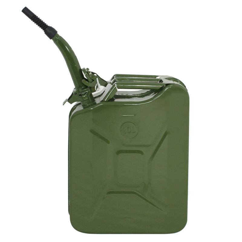 5 Gal 20L Army Backup Jerry Can Gasoline Fuel Can Metal Tank Emergency Backup