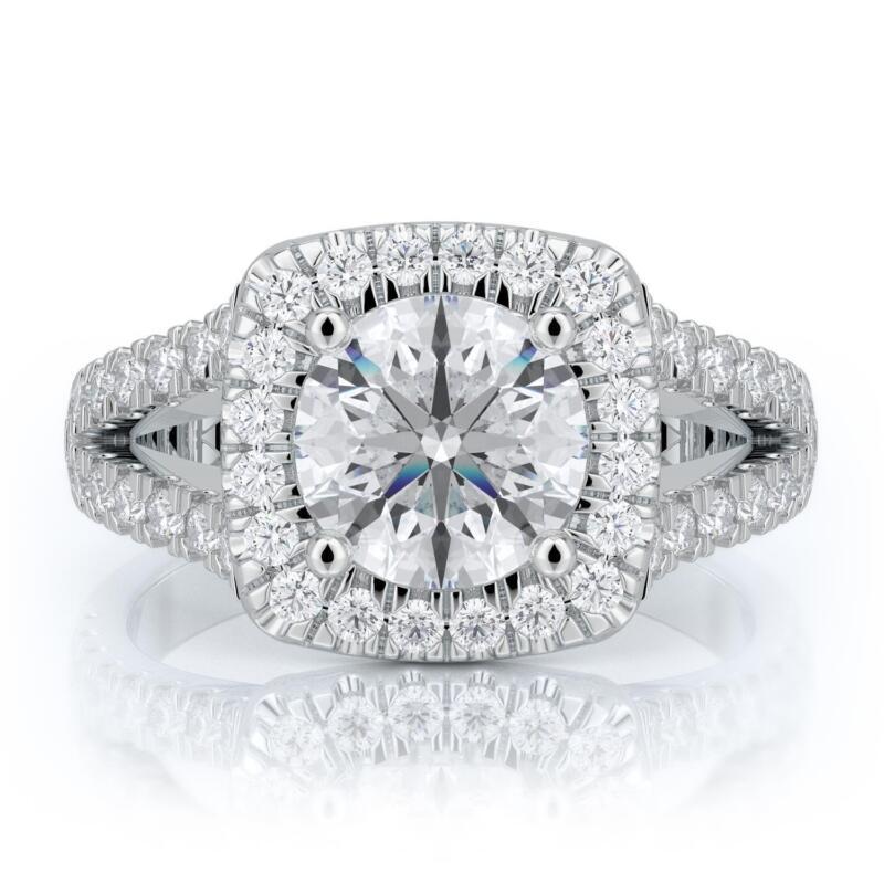 Engagement Diamond Ring Brilliant Round Cut 14k White Gold 2 Carat E Si2