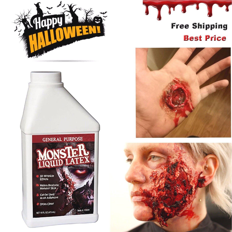 Halloween Fake Skin Liquid Latex 16oz. 3d Realistic Monster Make Up Kit