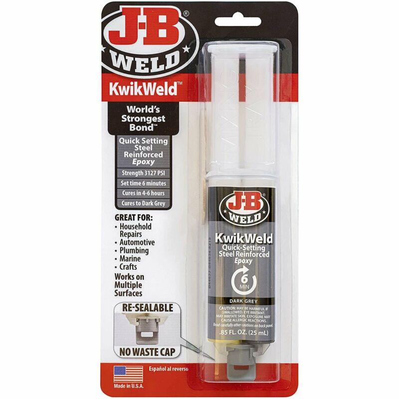 J-B Weld 50176 Steel Reinforced Epoxy Syringe - Dries Dark Grey - 25 ml, 1 Pack