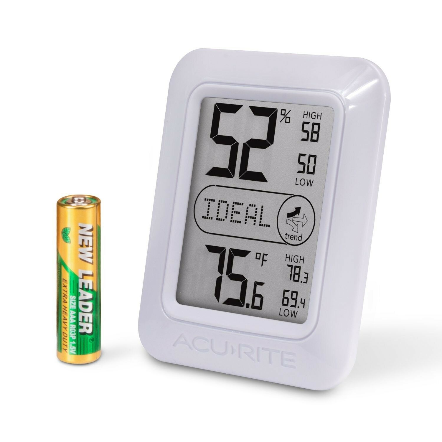 AcuRite 01131M Digital Hygrometer and Thermometer White Perfect For Weed Tent GR