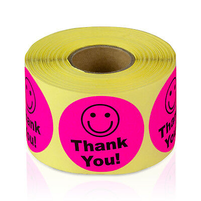 Thank You With Smiley Face Stickers Kids Smile Praise Labels 1.5 Round 1pk