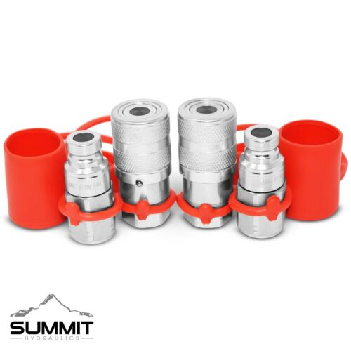 """1/4"""" NPT Flat Face Hydraulic Quick Connect Coupler / Coupling & Plug, 2 Sets"""