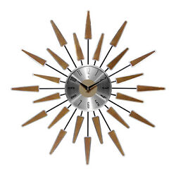 Infinity Instruments Sunburst Metal Satellite Wall Clock, Walnut (Open Box)