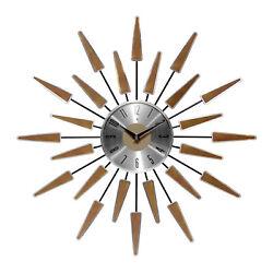 Infinity Instruments Sunburst Metal Satellite Wall Clock, Walnut (Open Box)