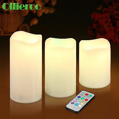 Ollieroo 3 pcs Flameless LED Candles Light with Remote Color Changing Wedding