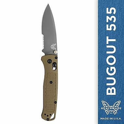 Benchmade Bugout 535SGRY-1, Serrated Edge Drop-Point Knife
