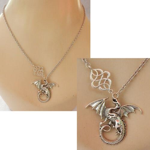 Dragon Necklace Pendant Silver Celtic Knot  Jewelry Handmade Fashion Chain Women