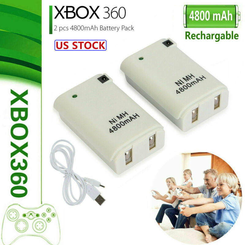 2x For Xbox 360 4800Mah Rechargeable Battery Pack Plug + Charging Cable White US