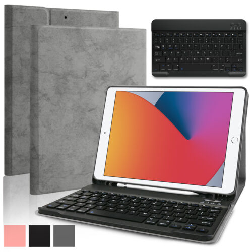 """For iPad 10.2"""" 2020 8th/7th Generation Smart Case Leather Stand Cover / Keyboard"""