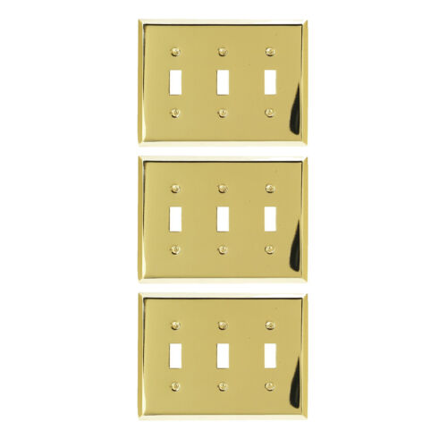 3-Pack Amerelle 163TRBR Traditional Triple Toggle Wallplate, Bright Brass -NEW