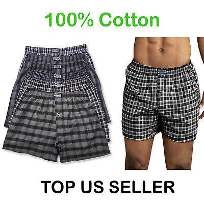 6 Mens Cotton Plaid Boxer Shorts Knocker Underwear Small Medium Large XL XXL-XL