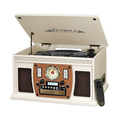 Victrola VTA-600BWT  7-in-1 Bluetooth Record Player with USB Recording White New