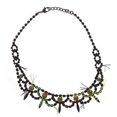 JOOMI LIM Split Personality Crystal Hematite Necklace with Neon Thread NEW