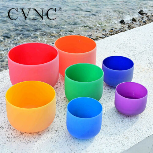"CVNC 7 pcs of 6""-12"" Colored Frosted Chakra Quartz Crystal Singing Bowl Set"