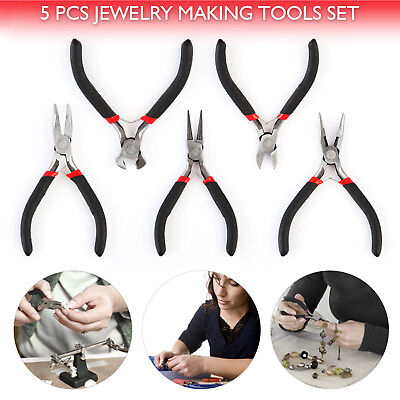 "5pcs/Set Jewelry Making Beading Wire Wrapping Pliers Hobby 5"" Jewelers Plier US"