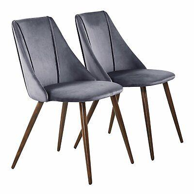 Set di 2 Sedia Vintage in Velluto Sedie da Pranzo Moderno con Gambe in Metallo