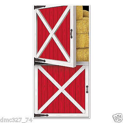 Western Cowboy Country Farm Barnyard Party Decoration Prop RED BARN DOOR COVER - Western Prop