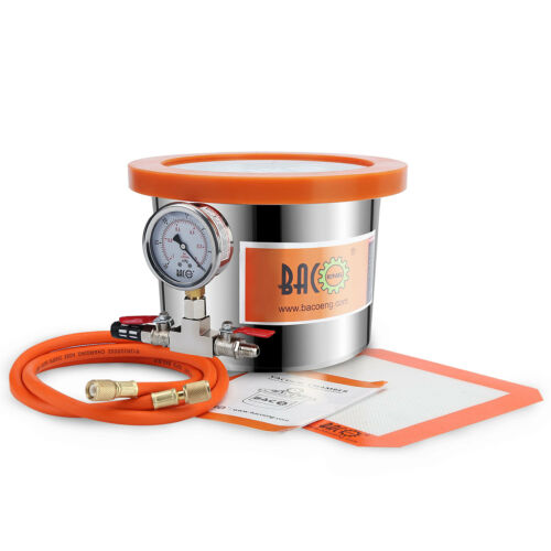 BACOENG 5.7L Stainless Steel Vacuum Chamber Wood Stabilizing Casting Moudling