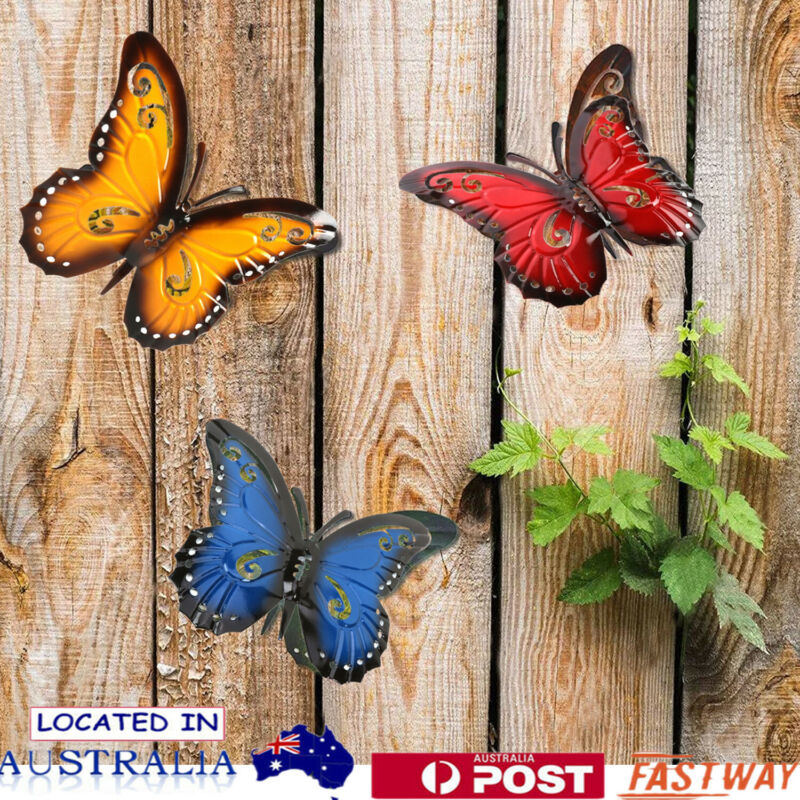 Home Decoration - 3pcs/set Metal Butterfly Hanging Wall Art Home Garden Decor Outdoor Statue Decor