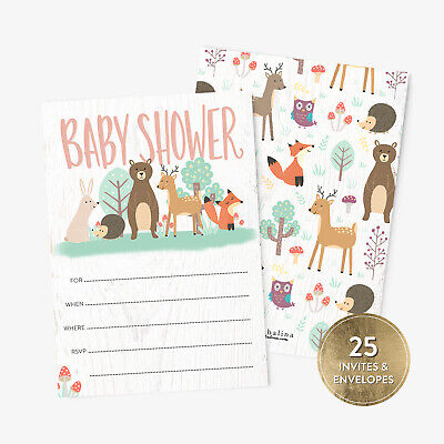 25 Baby Shower Invitations with Envelopes Cute Animals Woodland Baby Boy or Girl - Cute Invitations
