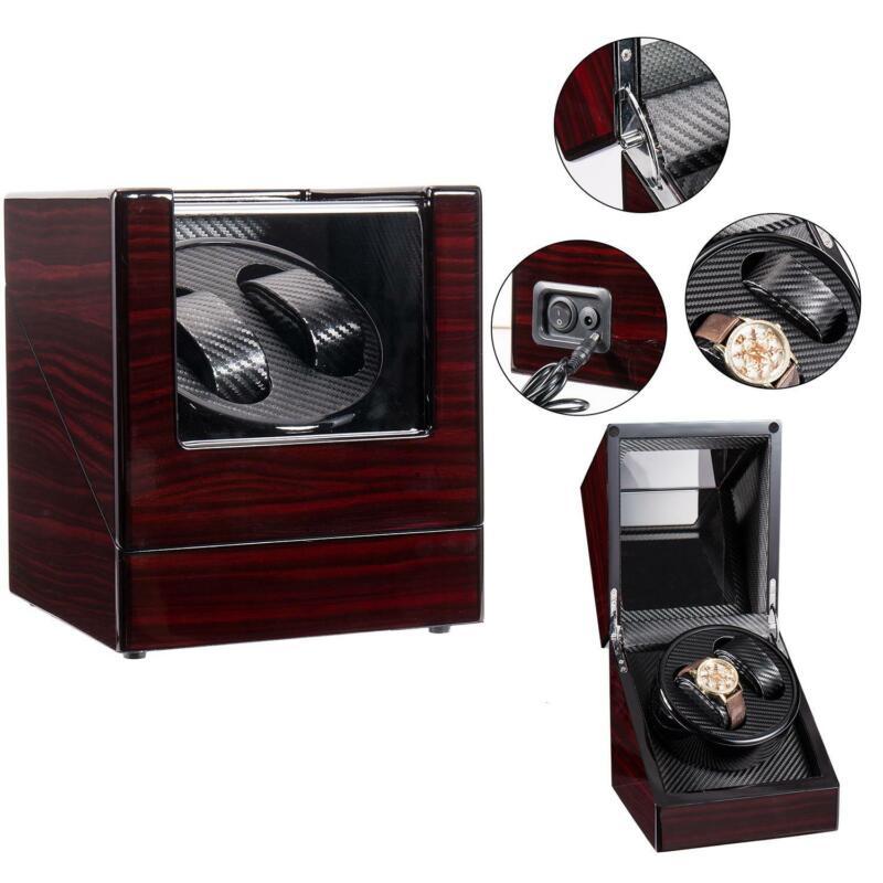 Noiseless Double Watch Winder Automatic Rotation Display Case Storage Box Luxury