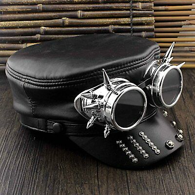 Men's Steampunk Leather Cap Gothic Punk Biker Hat Cosplay Costume](Biker Costumes For Men)