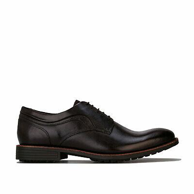 Mens Hush Puppies Mud Plain Toe Oxford Shoes In Dark Brown- Lace Fastening- Puppies Plain Leather