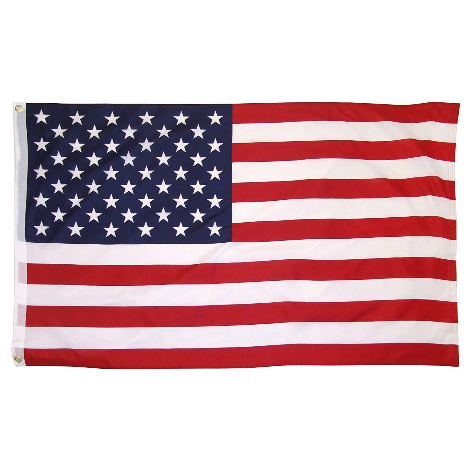 5'x8' ft American Flag Sewn Stripes Embroidered Stars Brass