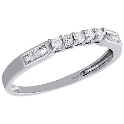 10K White Gold Round & Baguette Diamond Wedding Band 5 Stone Womens Ring 1/6 (6 Diamond Baguette Stone Ring)