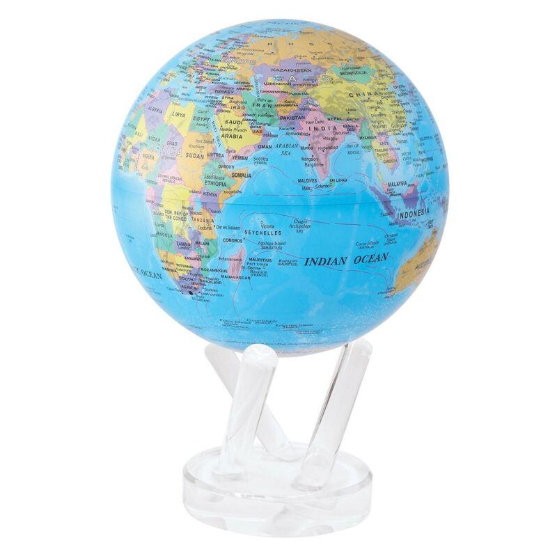 "Political Map Blue MOVA Globe 4.5"" SPINNING"