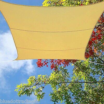 Tuff Desert Sand Waterproof Shade Sail 13x13 ft Square Backyard Pool Lawn Awning
