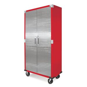 Merveilleux Metal Rolling Garage Tool File Storage Cabinet Stainless Steel Doors Color  Red