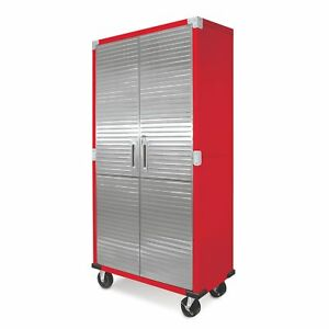 Metal Rolling Garage Tool File Storage Cabinet Stainless Steel Doors Color  Red