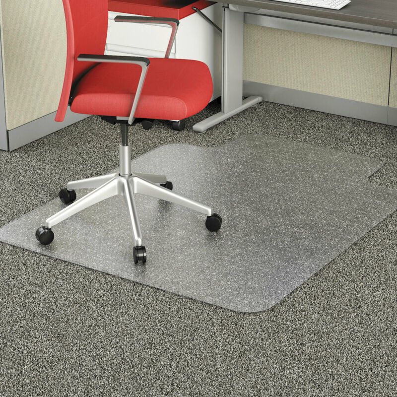 "Alera Studded Chair Mat for Flat Pile Carpet 45"" x 53"" with Lip Clear"
