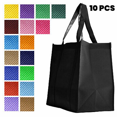 Large Non Woven Tote - [10 PACK] HEAVY DUTY Reusable Large Non-Woven Tote Grocery Shopping Bags