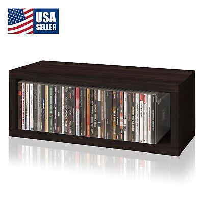 Stackable CD Rack Display Media Storage Holder Organizer Case Box, Espresso