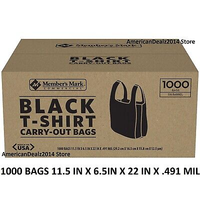 Members Mark Black T-shirt Carryout Bags 1000 Ct. Fast Shipping Sealed