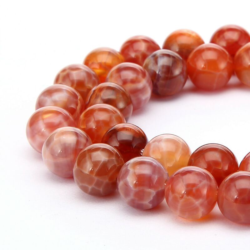 """Burnt Orange Fire Agate Smooth Round Beads 6mm 8mm 10mm 12mm 15.5"""" Strand"""