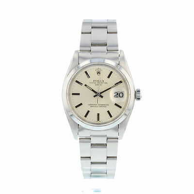 Gents Rolex Date 1500 Silver Dial Stainless Steel Box and Papers 1983