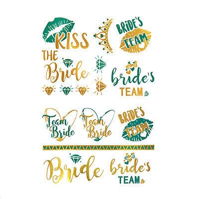 oos JGA Tattoo Set Bride - Team Bride Hochzeit Türkis Gold (Hochzeit Temporäre Tattoos)