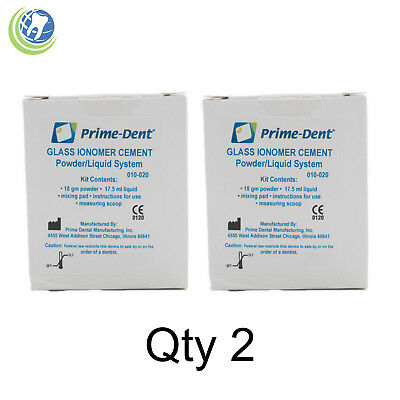 2x Dental Glass Ionomer Permanent Cement Crown Bridge Veneer Luting Adhesive