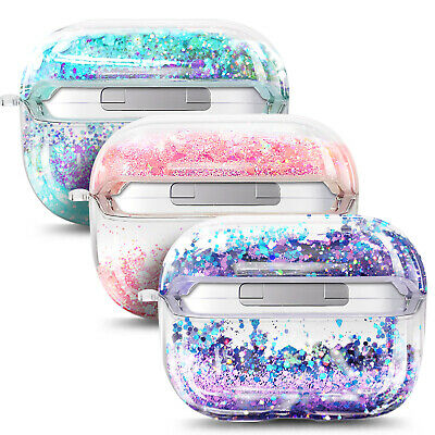 For Apple AirPods Pro Case Liquid Glitter Cute Protective Cover +Ball Chain Loop