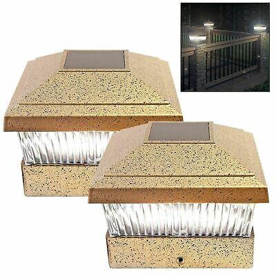Solar Powered LED Deck Cap Post Light Bright White Fence Lights Outdoor Garden - Solar Powered Post Caps