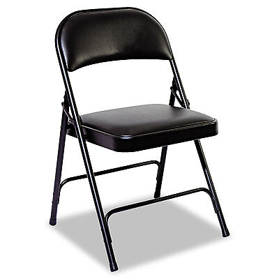 Alera Steel Folding Chair With Two-brace Support Padded Backseat Graphite 4