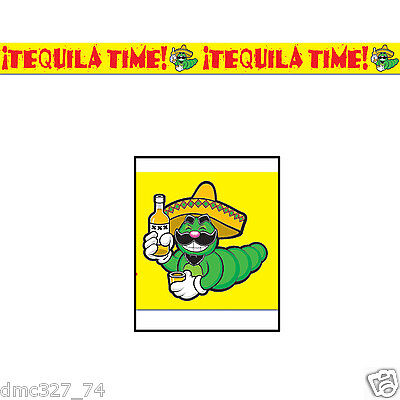 FIESTA Cinco de Mayo Party Decoration Prop TEQUILA Worm TIME PARTY Caution TAPE