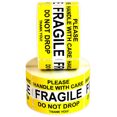 Fragile Handle With Care Waterproof Label Stickers 1000 2 X 3 Labels Yellow