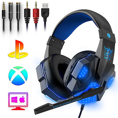 Wired Mic Gaming Headset Stereo Bass Surround LED Headphone For Xbox One/PS4/PC