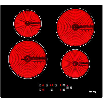IsEasy - Placa de Cocina Vitrocerámica 59 cm 4 Zonas Incorporadas Tocar...